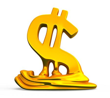 descending: Finance crisis. Dollar sign melts and decreases. Conceptual business 3d illustration
