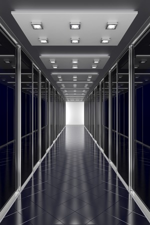 server room: Black  color hallway in office center or any different modern building. Architecture 3d illustration Stock Photo