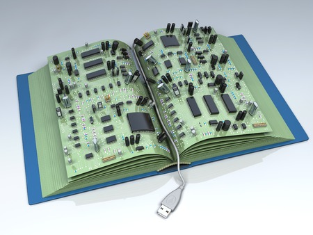 Conceptual high technology 3d illustration. Digital book - ebook similar to traditional paper book illustration