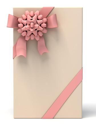 moño rosa: Caja de regalo con lazo rosa y la cinta sobre fondo blanco. Casa 3d ilustración