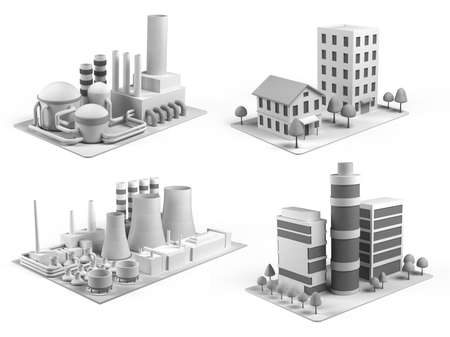 manufacture: Set of different stylised buildings, office center, powerhouse, factory and  dwelling house on white background. Isometric view.  3d illustration