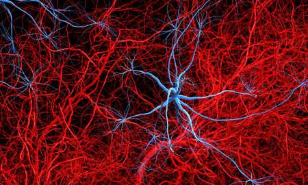 vasos sanguineos: Fantasía metástasis cancerosa u otra enfermedad. Ilustración médica o la ciencia 3d