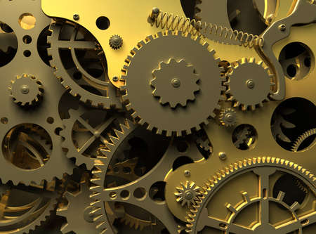 Clock inside. Closeup golden clockwork.  Industrial 3d illustration Banque d'images