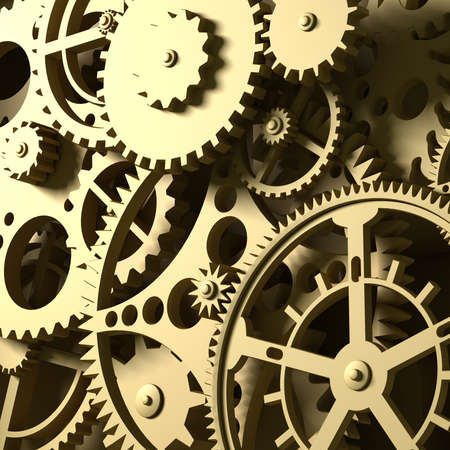 industrial machine: Fantasy golden clockwork or part of any machine. Closeup gears. Industrial 3d illustration.