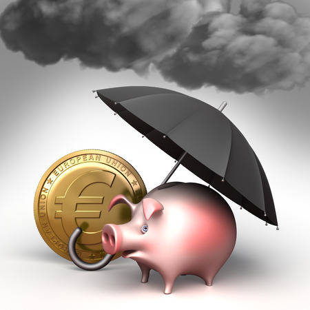 bad weather: Umbrella protects piggy bank,  from bad weather. Finance illustration