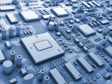 mainboard: Closeup fantasy circuit board or mainboard or motherboard. Technology 3d illustration