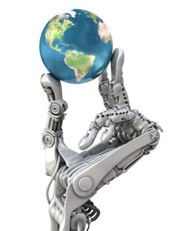 Robot que sostiene el globo azul. El planeta Tierra en manos de la alta tecnología. Conceptual 3d ilustración Foto de archivo