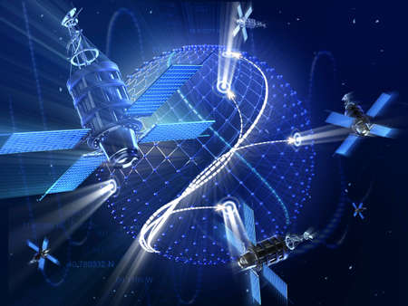orbits: GPS or surveillance satellite system around the Earth. High technology 3d illustration.