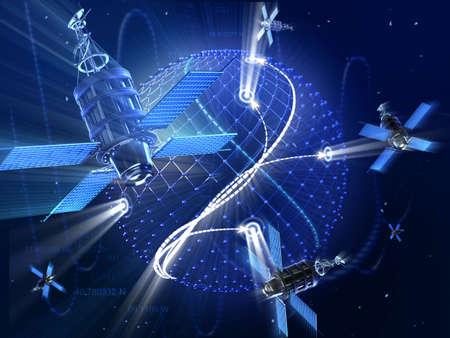 satelite: GPS or surveillance satellite system around the Earth. High technology 3d illustration.