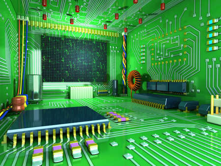 futuristic interior: Fantasy digital room. Futuristic home inside. All in the interior made of electronic components. Conceptual high technology 3d illustration Stock Photo
