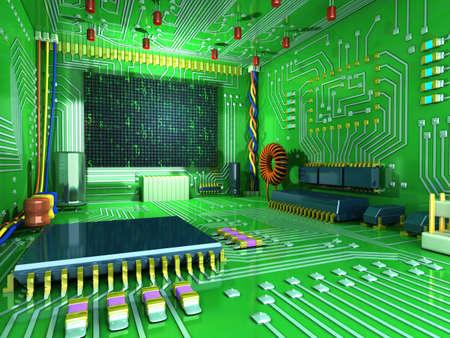 circuitos electronicos: Sala digital de la fantasía. Dentro de la casa futurista. Todo en el interior hecha de componentes electrónicos. Alta tecnología conceptual Ilustración 3D Foto de archivo