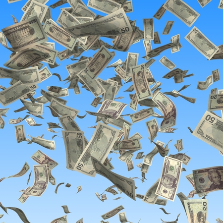 flying money: Flying and falling dollars banknotes on blue background. Finance 3d illustration Stock Photo