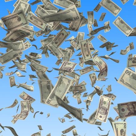 dinero volando: Volar y la caída de billetes de dólares en fondo azul. Finanzas 3d ilustración