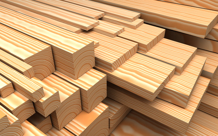 forest products: Closeup wooden boards at warehouse. Industrial 3d Illustration about construction materials