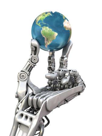 mano robotica: Robot que sostiene el globo azul. El planeta Tierra en manos de la alta tecnología. Conceptual 3d ilustración Foto de archivo