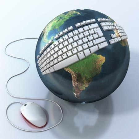 digital world: Digital world. Keyboard on Earth. Stock Photo