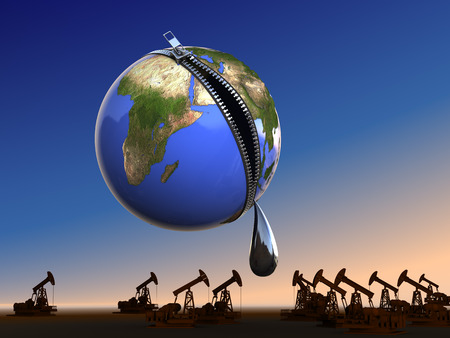 Last drop oil at Earth. Conceptual business - ecology illustration