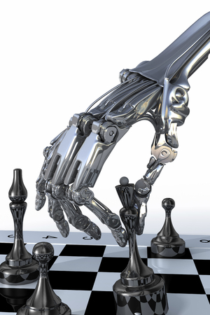 terminator: The cyborg or robot plays a chess. Technology 3d illustration