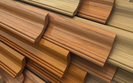 Set of dark wooden plinth, plank. Industrial 3d illustration Stock Photo