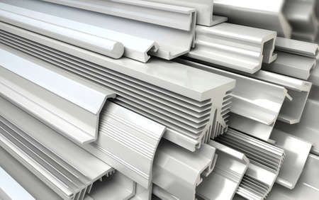 extruded: Extruded Plastic Profiles. Industrial 3d illustration
