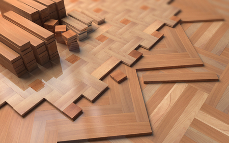 parquet floor layer: Different parquets on floor.  Illustration about construction Stock Photo