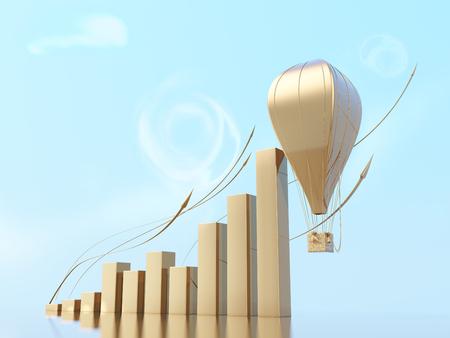 metaphorical: Metaphorical growing business chart with a aerostat or air ballon going up. conceptual 3d illustration