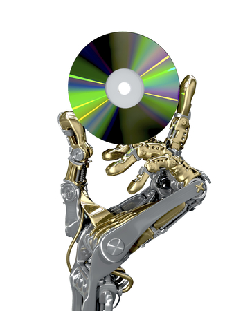 arm holding: robotic arm holding a CD. Retro and new modern technology together. Conceptual 3d illustration Stock Photo
