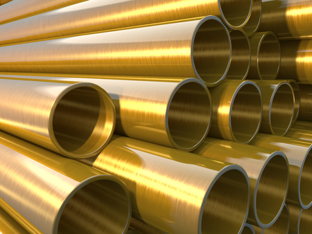 copper pipe: glossy and shiny copper round pipes.  industrial 3d illustration
