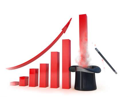 metaphorical: Metaphorical  business chart with a magic help going up. Conceptual 3d illustration