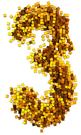 number 3: Glamour Alphabet made of gold cubes. Clipping path added. Number 3 Stock Photo