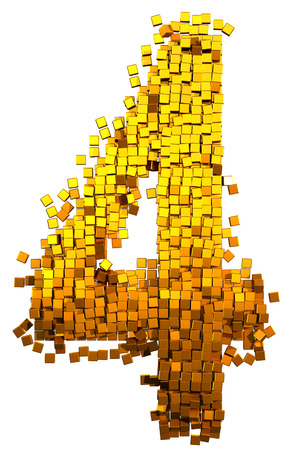 Glamour Alphabet made of gold cubes. Clipping path added. Number 4 photo