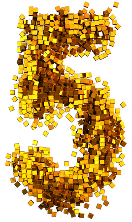 number 5: Glamour Alphabet made of gold cubes. Clipping path added. Number 5