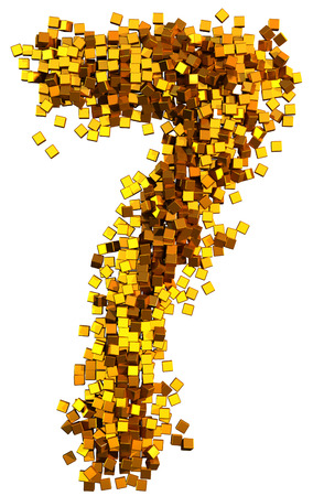 number 7: Glamour Alphabet made of gold cubes. Clipping path added. Number 7