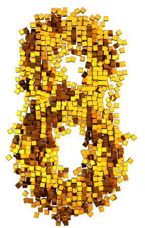 number 8: Glamour Alphabet made of gold cubes. Clipping path added. Number 8