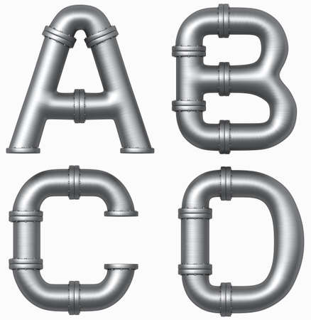 sewer pipe: Metal stainless pipe alphabet. Industrial letters.