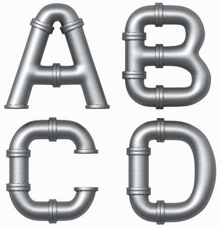 caños de agua: Metales alfabeto acero tubería. Cartas industriales.