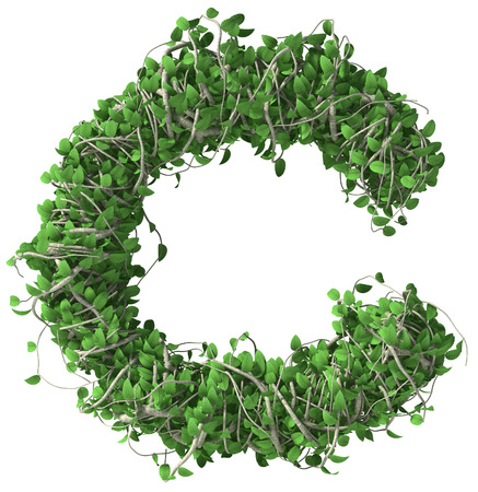 c to c: Green alphabet made of trees and leafs. Seasonal summer letter f