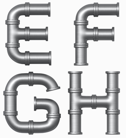 sewer pipe: Metal stainless pipe alphabet. Industrial letters. Added clipping path