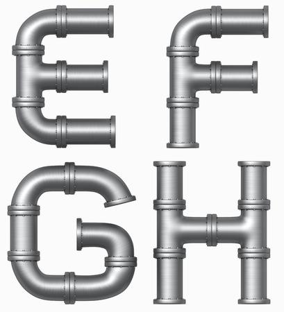 Tuyauterie inox Métal alphabet. Lettres industriels. Chemin de détourage Ajouté