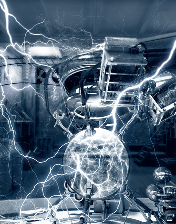 high voltage: Fantasy science laboratory. Experiment with electrical energy and lightnings. 3d illustration.