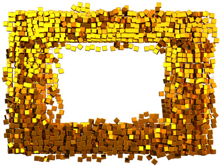 pixelate: Mosaic frame made of golden cubes. Clipping path added. 3d illustration