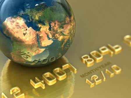 international internet: Abstract international gold credit card. Business illustration