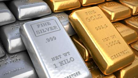 Lingote de plata y lingotes de oro. Ilustración de finanzas