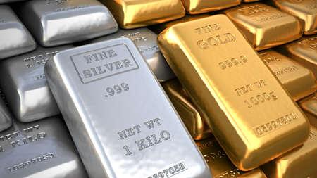 silver metal: Silver ingot and  gold bullion. Finance illustration Stock Photo
