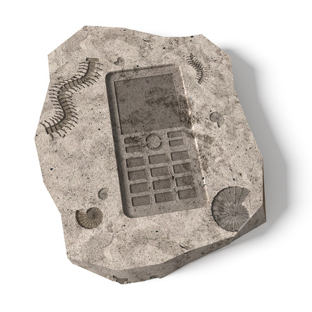 phone number: Push-button Mobile Phone already history. Conceptual 3d illustration about technical progress Stock Photo