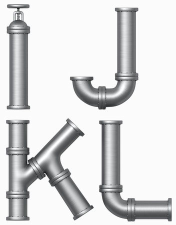 J: metall pipe alphabet. Industrial letters.