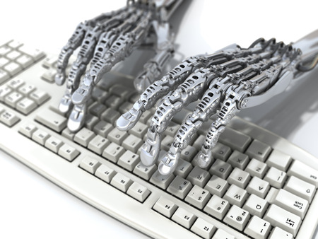 Robot works at keyboard. Futuristic 3d illustration illustration