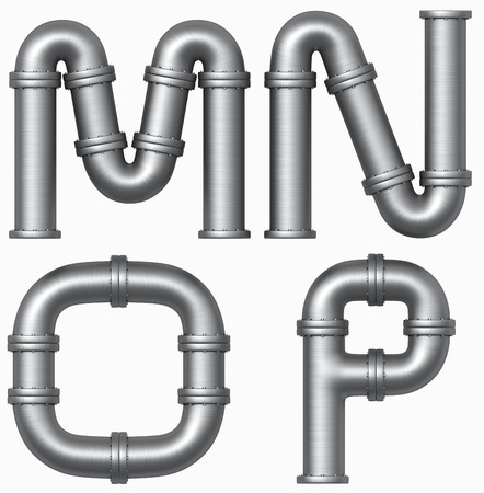 shiny metal background: metall pipe alphabet. Industrial letters.