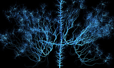 blue vessels: Abstract nervous system.  Medical and science 3d illustration