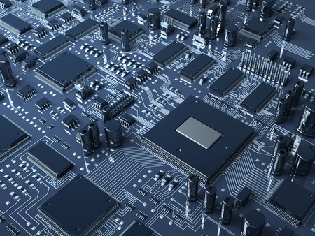 microcircuit: Fantasy circuit board or mainboard with  microcircuit and processor. Technology 3d illustration Stock Photo